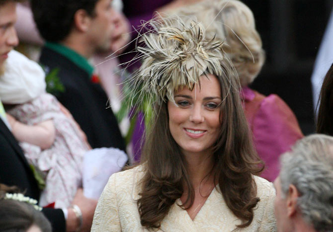 Kate Middleton at the wedding of Laura Parker Bowles and Harry Lopes at St Cyriac's Church in Wiltshire, west England.