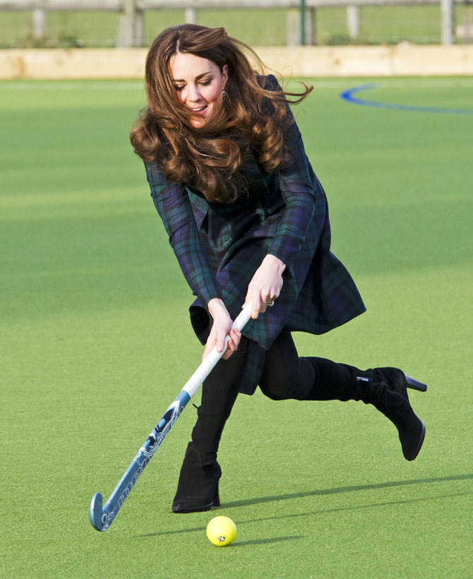 Kate played hockey during a visit to her former preparatory school St Andrew's, which she attended from 1986 to 1995.