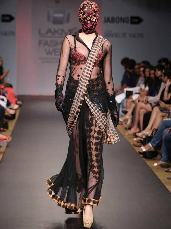 A model in a Sourabh Kant Srivastava creation