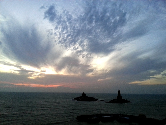 The Vivekananda Rock Memorial and the stature of the great poet-philosopher Thiruvalluvar, Kanyakumari, Tamil Nadu