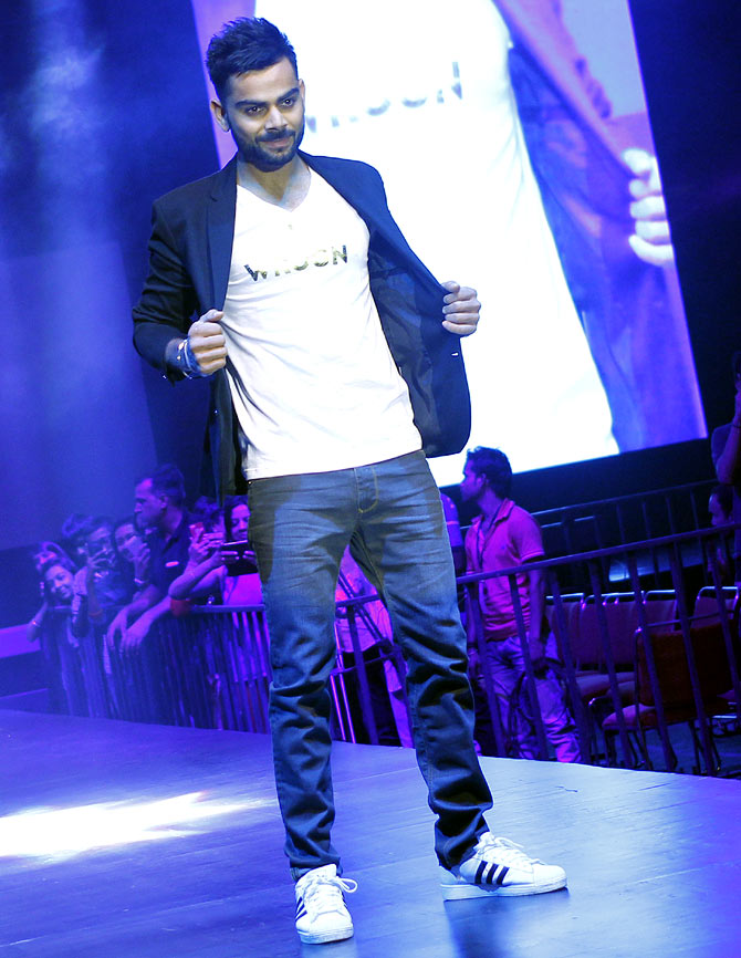 Virat Kohli made his debut on the runway at the launch of his fashion line -- WROGN -- in November 2014