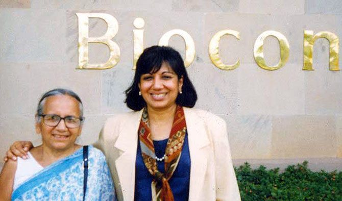 Kiran Mazumdar Shaw (right) with her mother