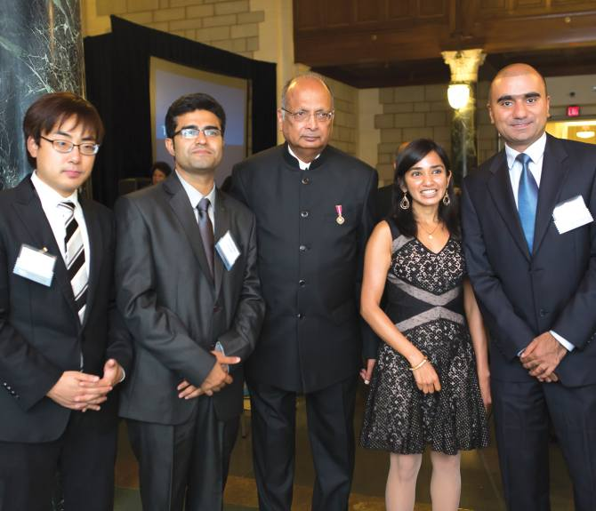 From left, Marconi Society's Paul Baran Young Scholars 2014 Kiseok Song and Dr Himanshu Asnani, Marconi Fellow 2014 Professor A J Paulraj and Young Scholars Aakanksha Chowdhery (2012) and Salman Baset (2008).