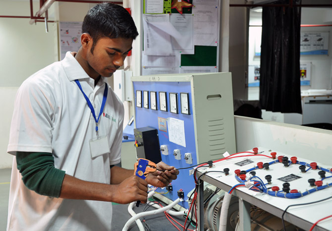A student engages in a skill training course