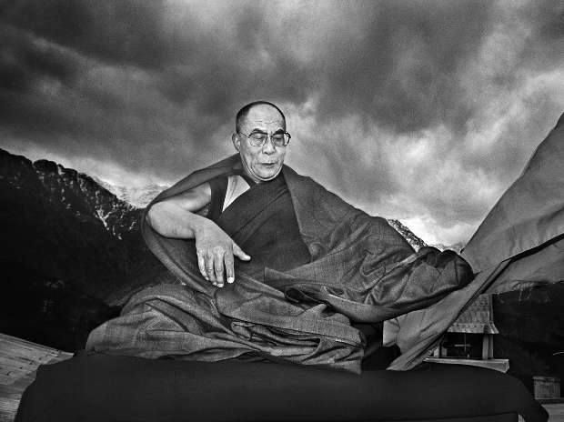 The Dalai Lama with the Himalayas in the backdrop, 1990.