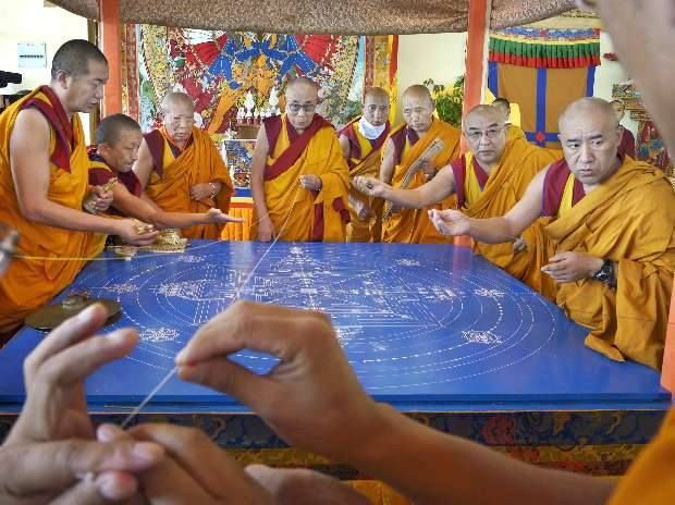 Preparing the Mandala during Kalchakra in Ladakh, 2014.