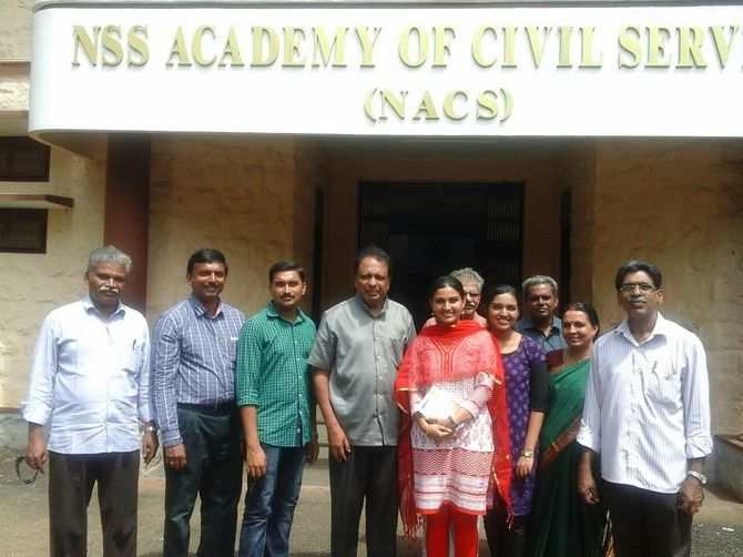 Renu Raj with Ambassador T P Sreenivasan at the NSS Academy