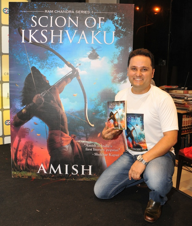 Amish, the leader of the mythology fiction pack, whose Meluha trilogy and the latest, Scion of Ikshvaku, have together sold around 3.5 million copies, calls himself a 'hardcore sales and marketing guy' when it comes to launching his books. Photograph: Afsar Dayatar/Rediff.com
