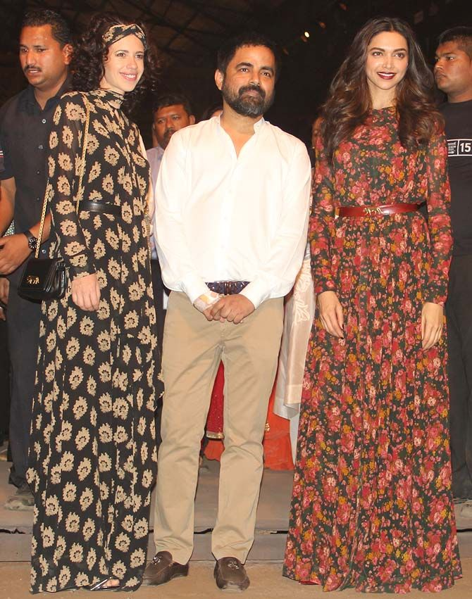 Kalki Koechlin and Deepika Padukone with Sabyasachi Mukherjee