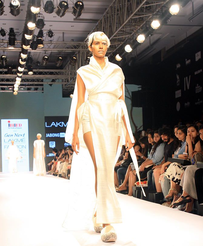 A model in a Priyanka Ella creation at Lakme Fashion Week.