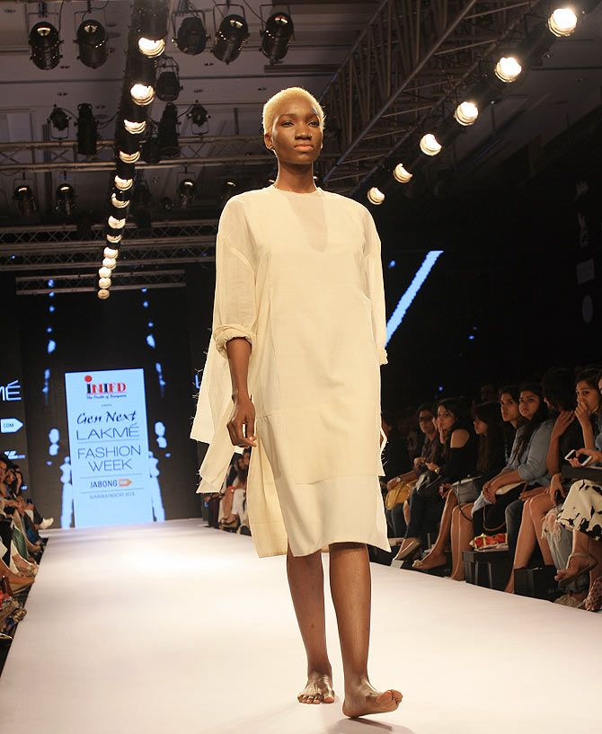 Model Ugochi Latoya Igwilo in an Alan Alexander Kaleekal creation at Lakme Fashion Week.