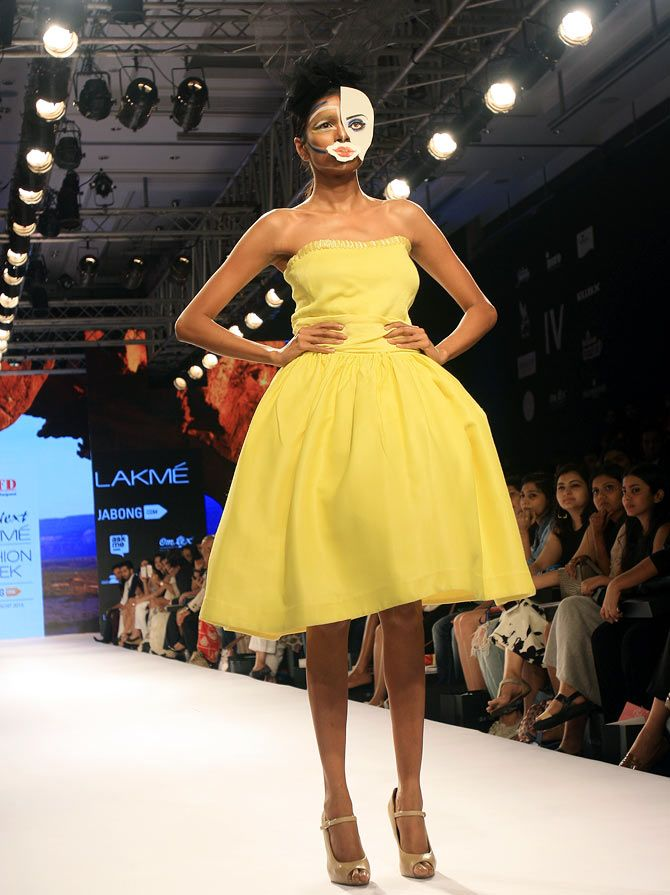 A model in an Ankit Carpenter creation at Lakme Fashion Week.