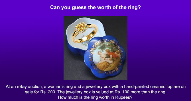 Latest News from India - Get Ahead - Careers, Health and Fitness, Personal Finance Headlines - #Mindbender: Guess the price of the ring!