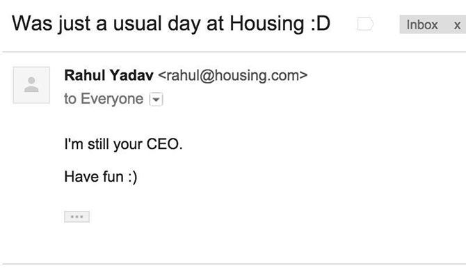 A snapshot of Rahul Yadav's email to employees