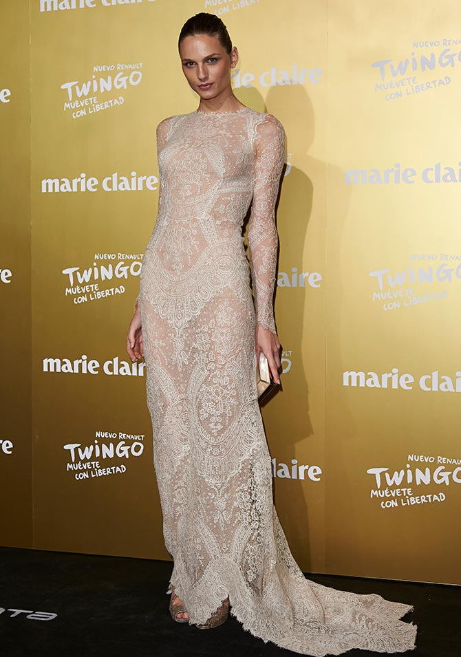 Model Andreja Pejic attends the Marie Claire Prix de la Moda 2015 at the Callao cinema on November 19, 2015 in Madrid, Spain.