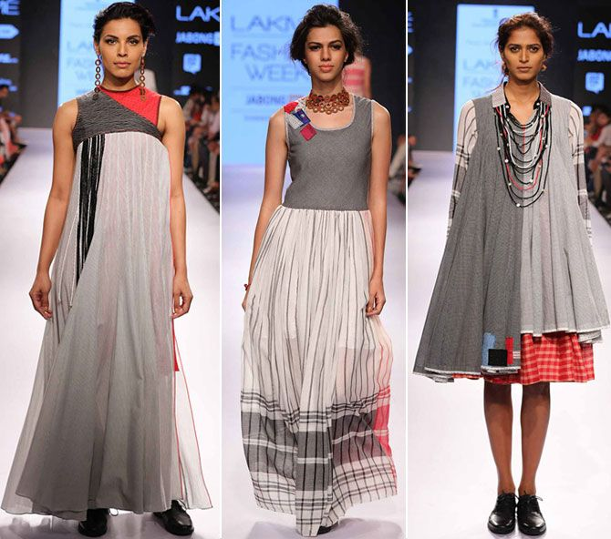 Models in Mayank and Shraddha creation at Lakme Fashion Week in March 2015