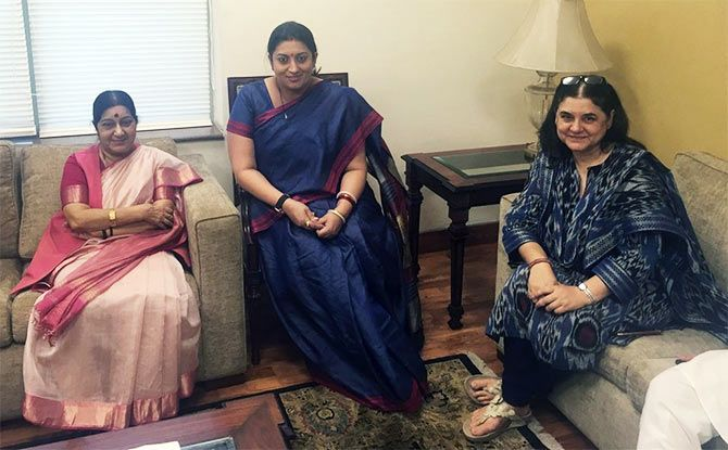 Sushma Swaraj, Smriti Irani, Maneka Gandhi (from left to right)