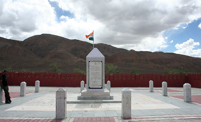 The Rezang La war memorial. Photograph: Divya Nair/Rediff.com