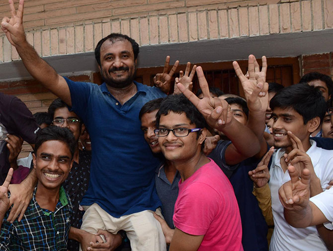 Anand Kumar celebrates the success with his students