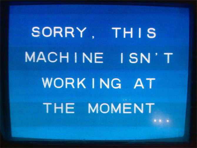 A message displayed on an ATM