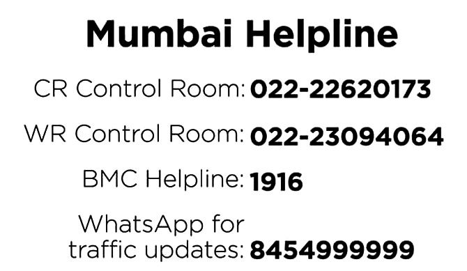Mumbai Rains helplines 2017