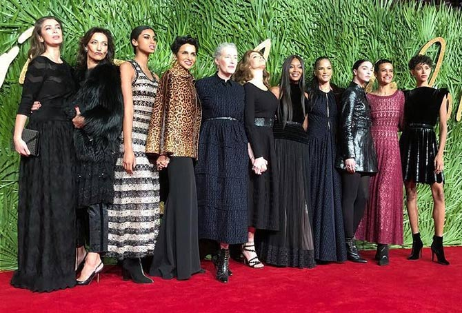 British Fashion Awards Naomi Campbell and Azzedine Alaia models