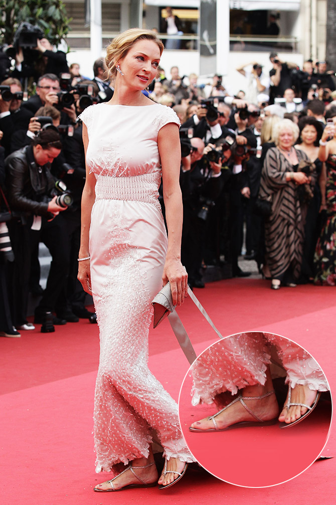 2a0f25f4a2 And who can forget Uma Thurman in an evening gown and the Doodle (flat Jimmy  Choo sandals) on the Cannes red carpet in 2011!