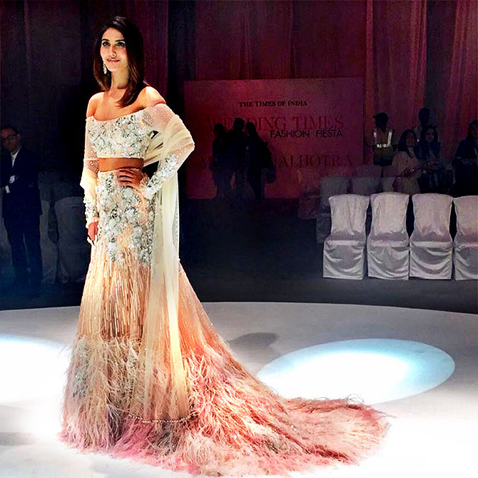 c11e0c850aec ... in pastel lehenga with feathered accents which she teamed with an  embellished offshoulder choli. Photograph  Kind courtesy Manish Malhotra  Instagram