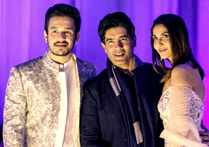 a0bed0d1cb7d IMAGE  Showstoppers Akhil Akkineni and Vaani Kapoor pose with Manish  Malhotra in Hyderabad. Photograph  Kind courtesy Manish Malhotra Instagram