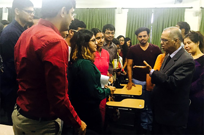 Narayan Murthy interacts with students of Asian College of Journalism