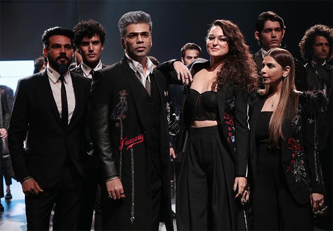 Video: Sonakshi Sinha walks the ramp, Karan Johar steals the show!