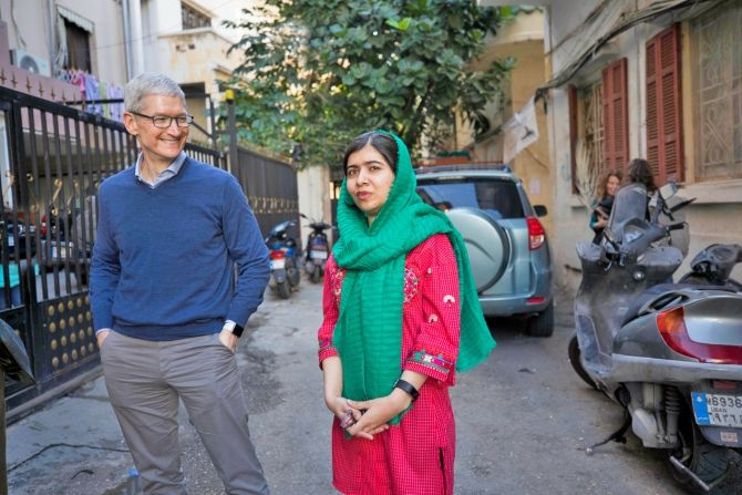 Malala and Tim Cook