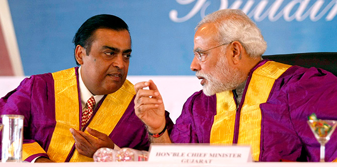 Narendra Modi with Mukesh Ambani