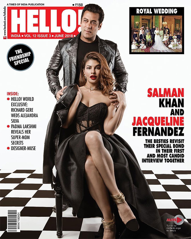 Jacqueline and Salman on Hello cover