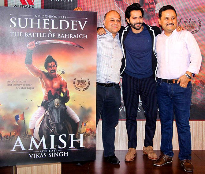 Varun, Amish at the book launch of Suheldev and the Battle of Bahraich