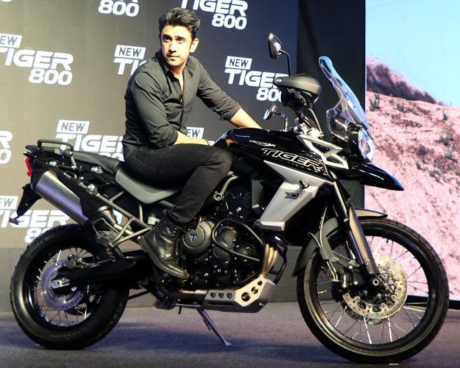 Amit Sadh at Triumph Tiger 800 bike launch