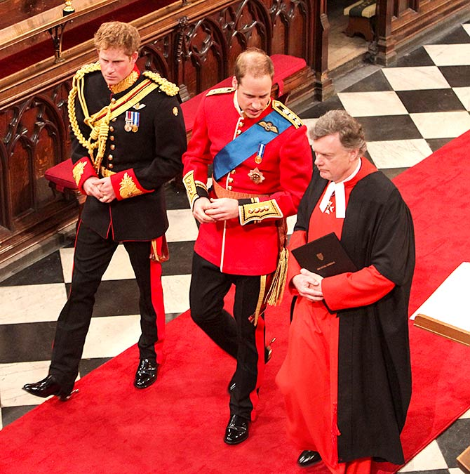 Prince Harry and Prince William at William's wedding to Kate in 2011