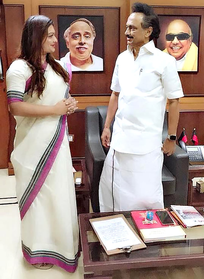 Apsara Reddy with MK Stalin