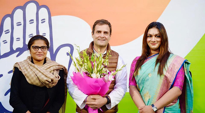 Sushmita Dev, Rahul Gandhi and Apsara Reddy