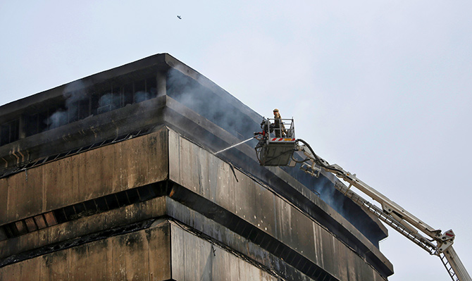 An enormous fire in India's National Museum of Natural History in New Delhi, in 2016, damaged it irretrievably. Photograph: Anindito Mukherjee/Reuters.