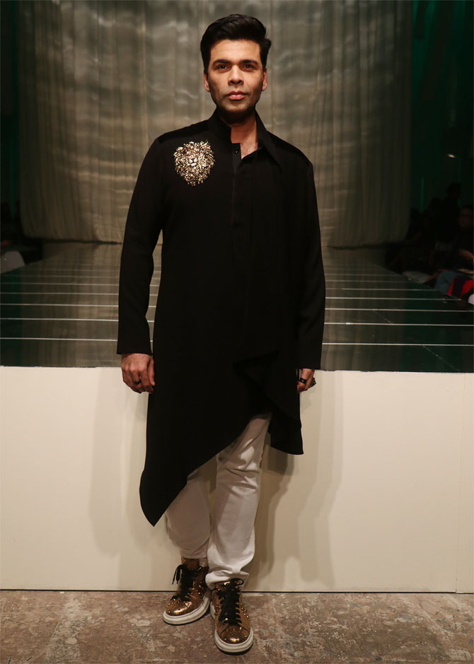 Karan Johar attends Manish Malhotra's show at Lakme Fashion Week Winter/Festive 2019 in Mumbai