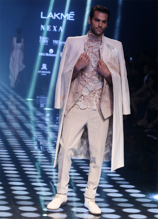 Suman Rao walks for Abhishek Sharma