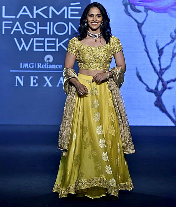 Saina Nehwal at Lakme fashion week summer/resort 2019