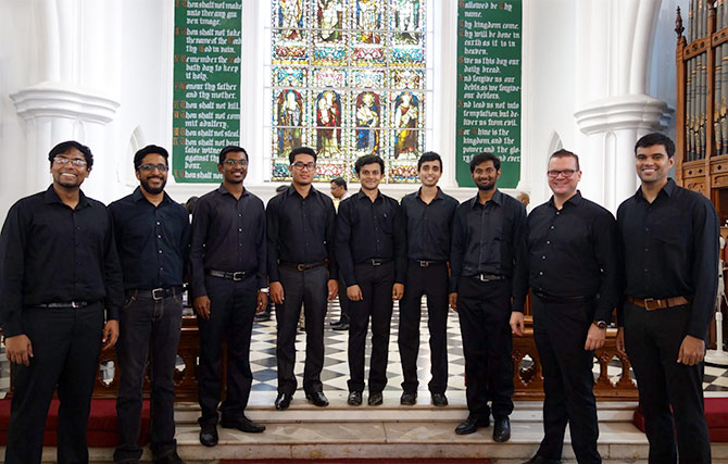 Jonas Olsson (second from right) with his 16-member choral ensemble, The Bangalore Men.