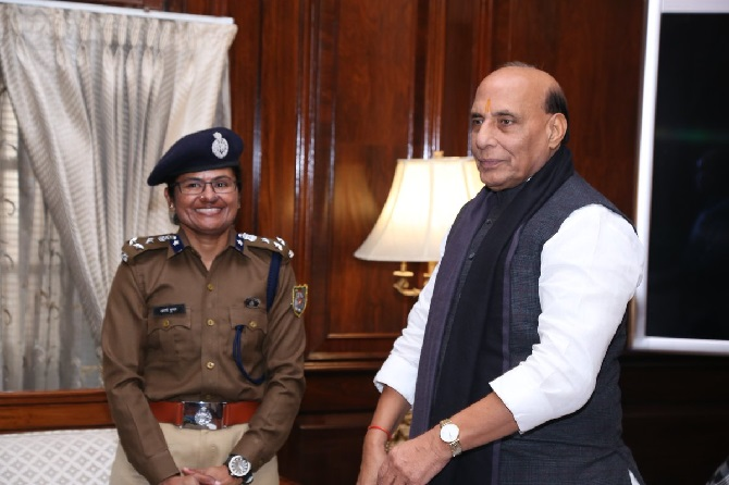 Aparna Kumar with Rajnath Singh