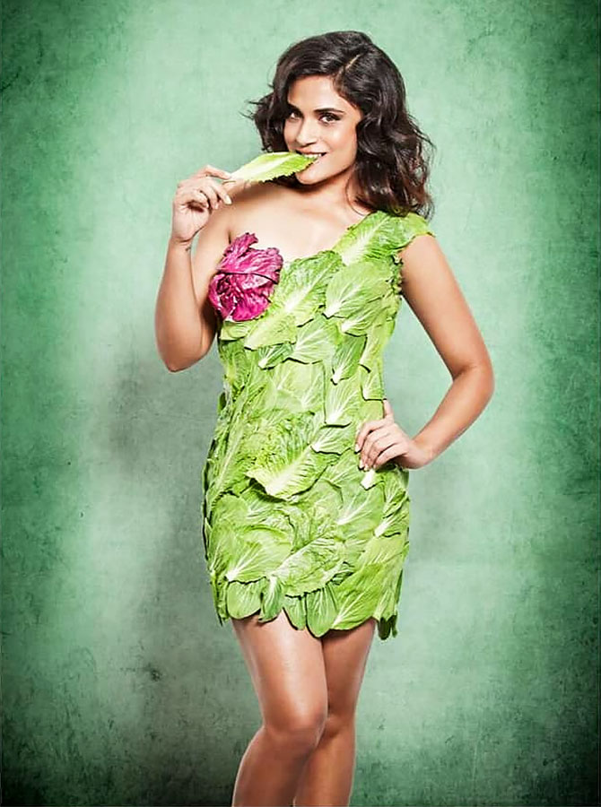 Richa Chaddha in a lettuce dress