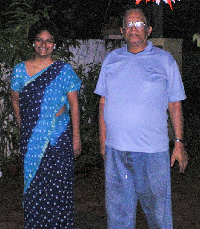 Annapoorni with her father KG Girija Vallabhan
