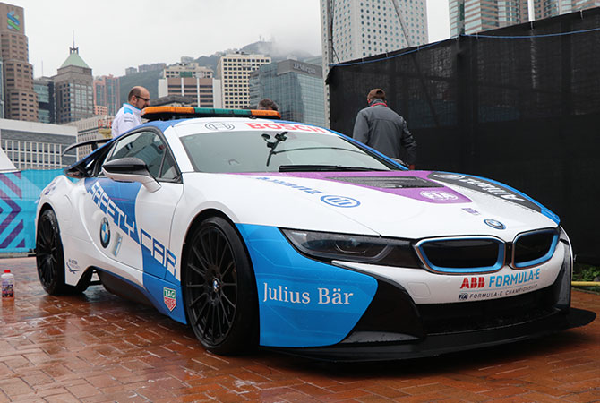 BMW i8 the safety car for the 2019  formula e race