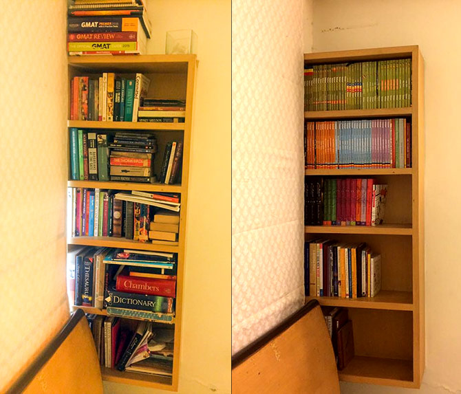 Bookshelves before and after