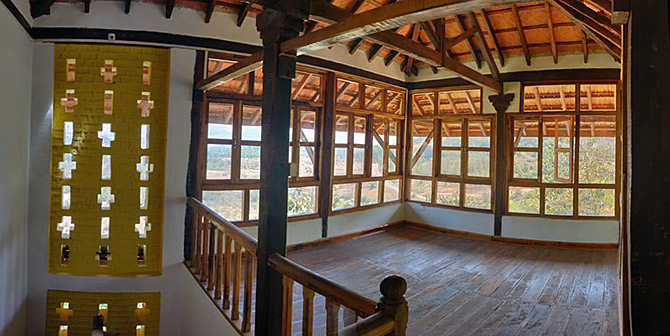 The interior attic space of Kamshet house